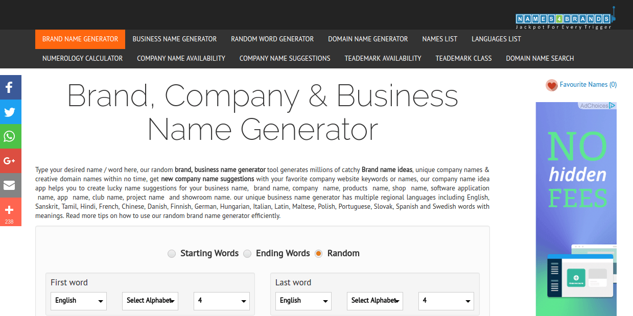 Names4brands Business Name Generator Provides You With A Bunch Of Tools To Help Pick Suitable Company Regards Choosing The Amount