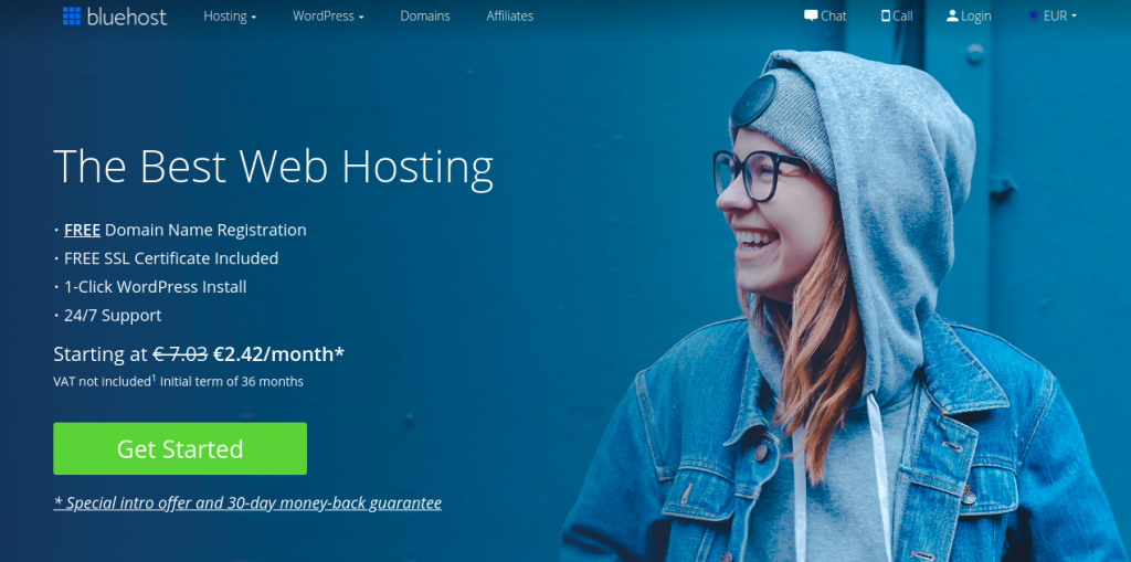 bluehost home screen